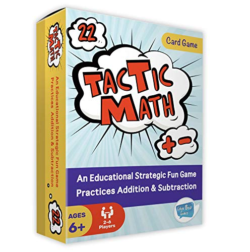 Cohen Bro Games Tactic Math Exciting Addition & Subtraction Math Game for Kids - 2-4 Player, Easy-to-Learn Math Card Game with 80 Cards for Ages 6+ - Educational Games for The Whole Family