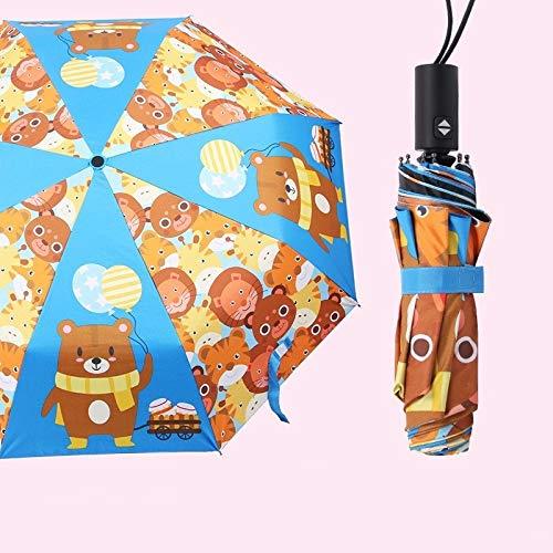 Maria-UK - Paraguas automático para niños con protección solar de vinilo triple (color: 3)