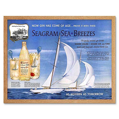 Wee Blue Coo Advert Drink Alcohol Gin Seagram Yacht Ocean Sail Art Print Framed Poster Wall Decor Kunstdruck Poster Wand-Dekor-12X16 Zoll