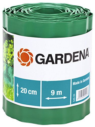 Gardena Raseneinfassung 20 cm hoch: Ideale Rasen-Abgrenzung, auch für Beete, 9 m, verhindert Wurzelausbreitung, hochwertiger Kunststoff, grün (540-20)