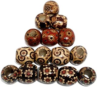 200 Patterned Wood Barrel Drum Beads Mixed Patterns 17mm x 16mm with Large 7.4mm Hole