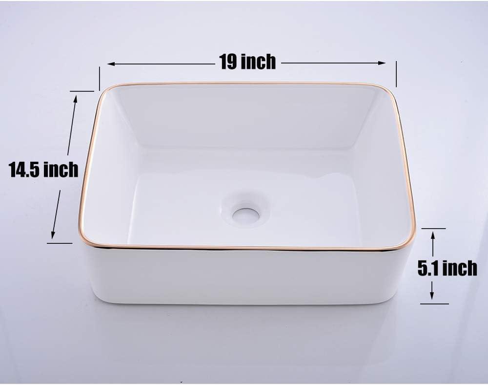 Buy Vesla Home Modern Gold Edge Square White Porcelain 19x15 Ceramic Bathroom Vessel Sink Ceramic Basin Wash Basin For Lavatory Vanity Cabinet Online In Germany B08ndpyf8z