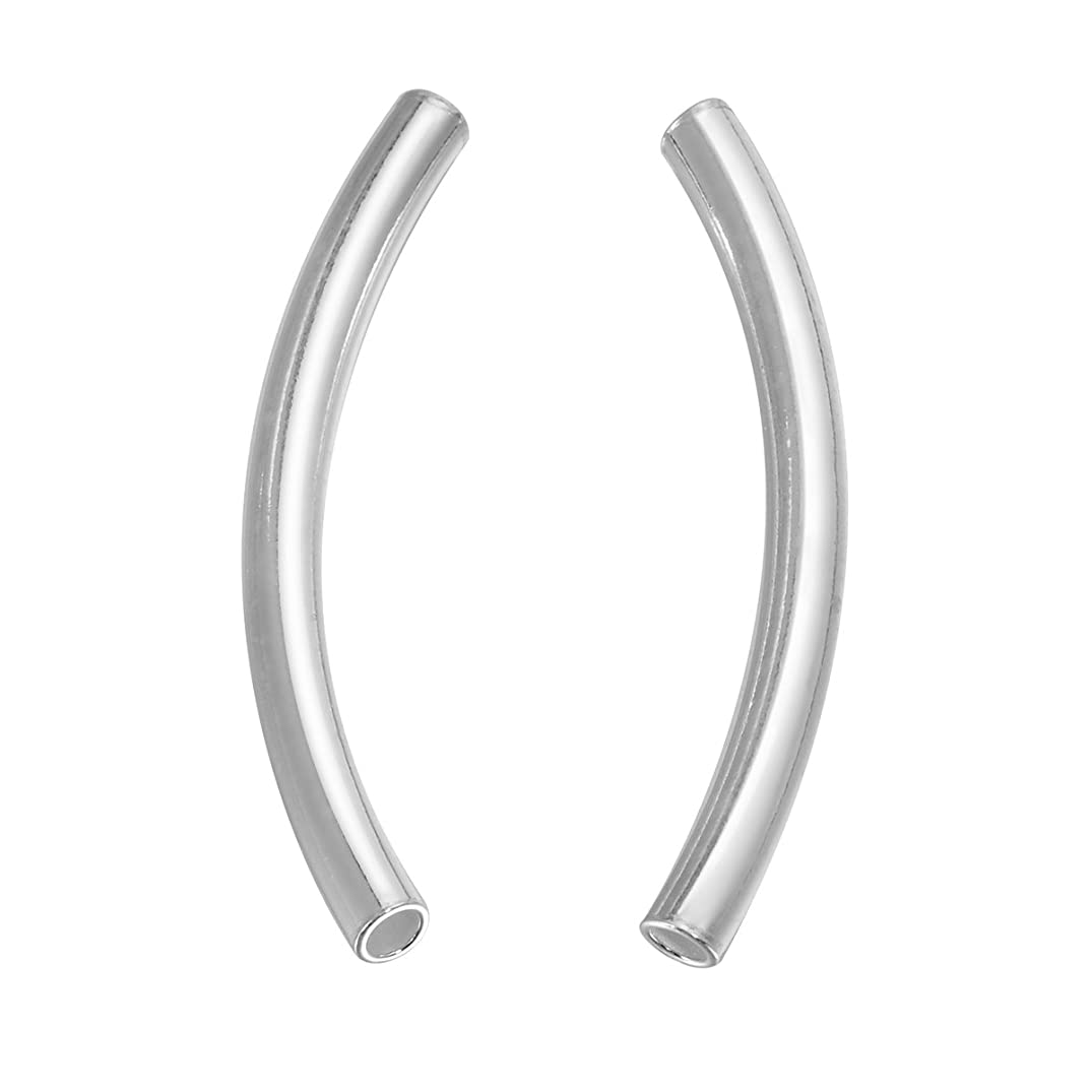 HooAMI 925 Sterling Silver Curved Noodle Tube Beads 4pcs,35mm(1 3/8
