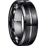 NUNCAD Ringe für Herren/Damen Schwarz Wolframcarbid Ring Kratzfest 8mm Edler Wolfram Ring als Verlobungsringe/Trauung...
