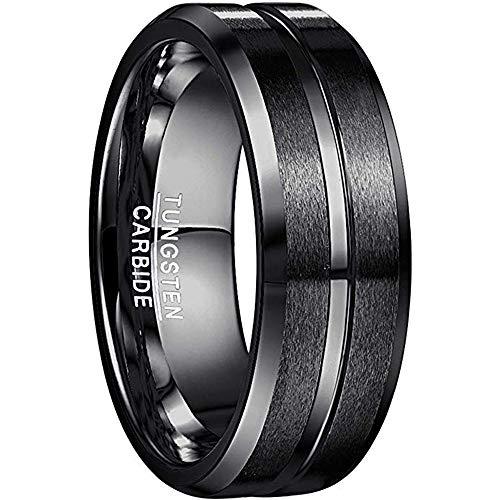 NUNCAD Ringe für Herren/Damen Schwarz Wolframcarbid Ring Kratzfest 8mm Edler Wolfram Ring als Verlobungsringe/Trauung Ringe/Freundschaftsringe/Partnerringe