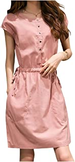 [エムエルーセ] ゆったり 半袖 ワンピース 前ボタン Iライン 涼しい スカート 4 カラ- M - 2XL レディース