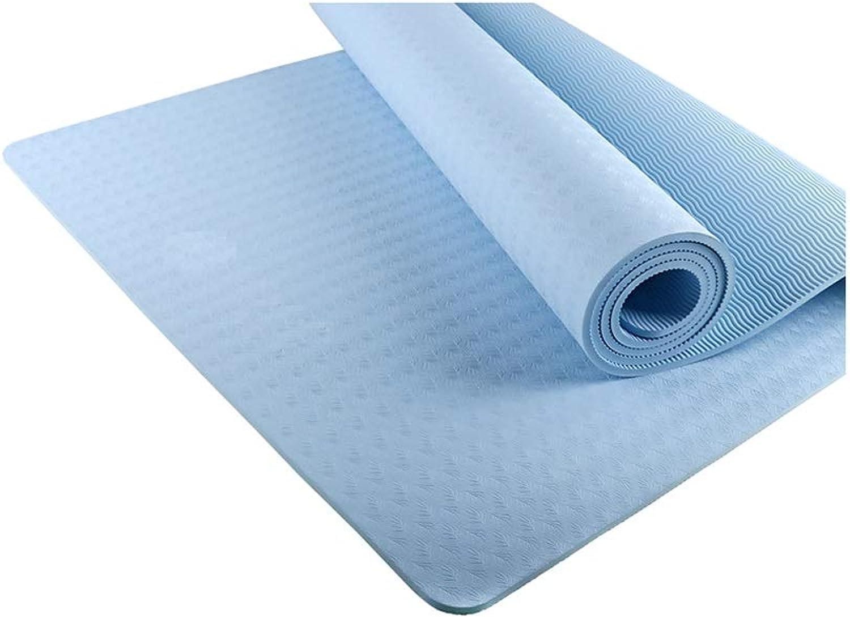 XJLXX TPE rutschfeste Yogamatte Anfnger Fitnessmatte Verdickung Yogamatte Verlngerung Verbreiterung 6mm dick Yoga Matte (Farbe   Blau)