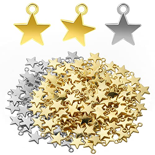 300 Pcs 14x10mm Star Charms Star Shape Charms Pendants, Mini Star Charms Alloy Star Shape Charms for DIY Bracelet Necklace Earring Jewelry Making Decor, (Gold, Silver)