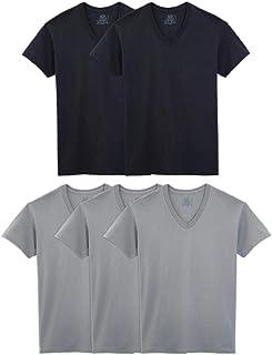 Fruit of The Loom Men's Tucked V-Neck T-Shirt (5, Small (34-36) Chest) Black/Gray
