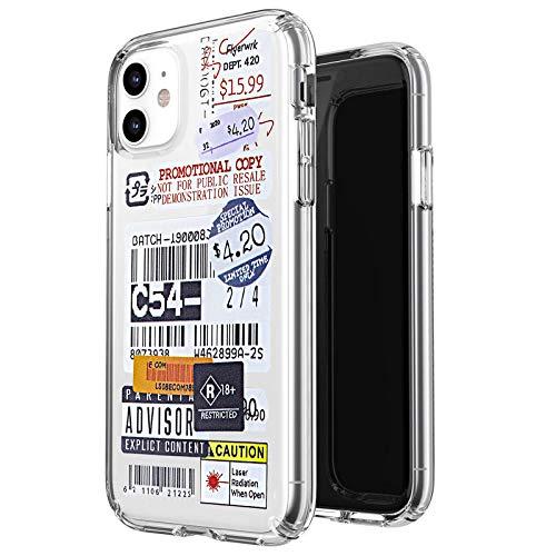 """Smobea - Cover compatibile con iPhone 11 da 6,1"""", con motivo a cartoni animati e con codice a barre stampato, in morbido TPU trasparente protettivo sottile antiurto posteriore (Retro-06)"""