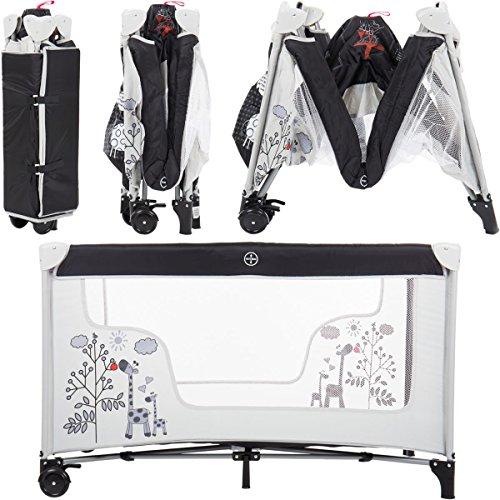 Reisebett/Babyreisebett GIRAFFE mit Rollen und Schlupfloch (Inklusive Matratze & Transporttasche) 120 x 60 cm von 0 – 5 Jahren - 7
