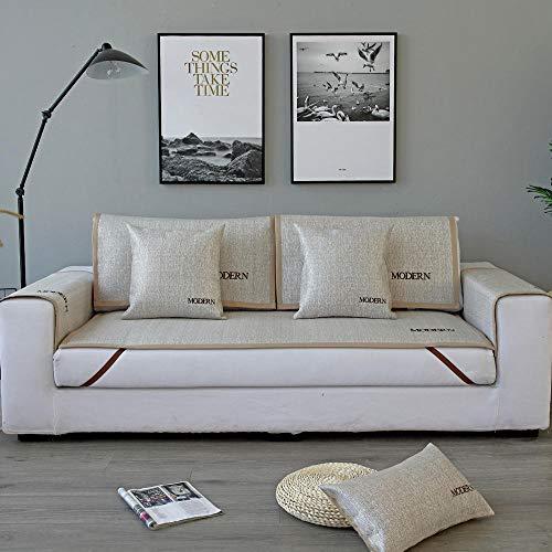 YUTJK El sofá de Verano se Puede Usar para el sofá de Cuero,Salón de sofá,Fundas de Asiento de sofá de Tela para Sala de Estar,Funda Protectora de Muebles,Beige_80×210cm