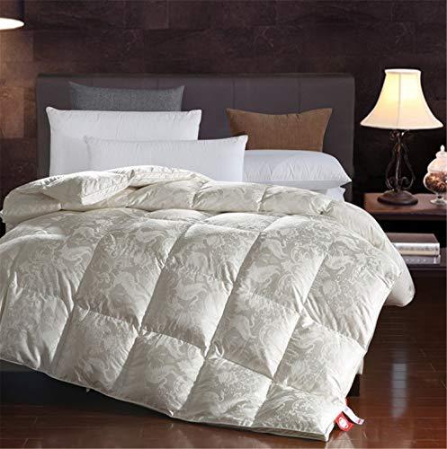 BIANJESUS - Edredón de plumón de Ganso con Tejido 100% algodón a Prueba de plumones de 13,5 TOG, Relleno de 650 Hilos para Dormitorio Doble, Color Beige, 220 * 240