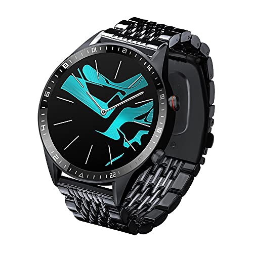 LZXMXR Smart Watch, Pantalla táctil Completa Llamada de Dos vías Reloj Inteligente, detección de Cuerpo 8g Pulsera Inteligente de Memoria Grande (Color : Black)