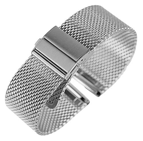 ZJSXIA 18 mm / 20 mm / 22 mm Malla de Reloj de Malla Correa de Acero Inoxidable Pliegue sobre Relojes de Cierre Pulsera de reemplazo Correa de Reloj Correas de Reloj (Color : Silver, Size : 20mm)