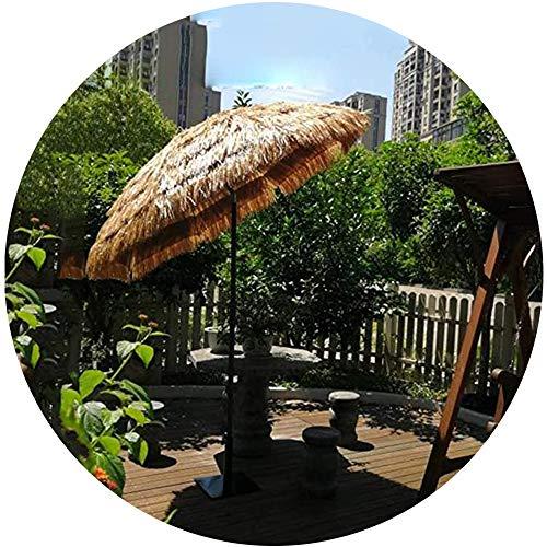 LDFZ Ombrellone da Giardino Rotondo da 200cm/6.5ft Paglia di Rafia Ombrellone da Spiaggia Parasole di Paglia Hula Stile Hawaiano, può Inclinare/Colore Naturale