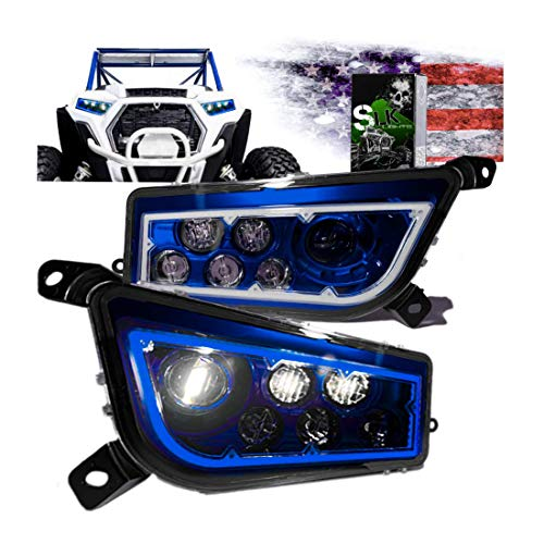 SLK-Customs us RZR LED Headlight Compatible with Polaris General, Polaris RZR 900s, Polaris Razor 1000 XP Turbo (Fits: 2015-2019) (Blue Halo)