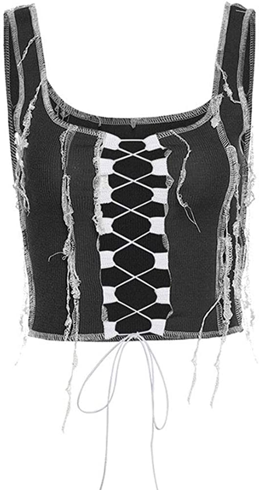 FRECOCCIALO Women 's Fashion Solid Color Camisole Summer Sexy Hollow Bandage Exposed Navel Vest Top (B-Black, S)