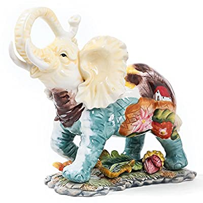 FORLONG FL6002 Ceramic Collectible Figurines Statue?3D Hand-Painted Elephant with Trunk Raised Statue Decoration