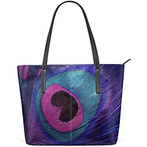 G.H.Y Lila Pfau-Feder-PU-Leder-Schulter-Einkaufstasche Geldbeutel für Frauen Mädchen