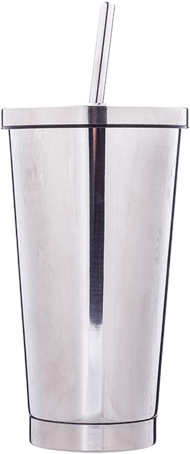 YIFEIJIAO, 500ml Stainless Steel Cup with Lid Drinking Straw Tra
