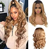 13x4 Deep Part Human Hair Lace Front Wigs Curly Wave #1B/27 Honey Blonde Dark Roots 150% Density Ombre Colored Human Hair Wig Middle Part Wavy Lace Wigs 22 Inch Bleached Knots for Women
