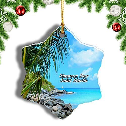 Weekino Simpson Bay Saint Martin Christmas Ornament Travel Souvenir Tree Hanging Pendant Decoration Porcelain 3' Double Sided