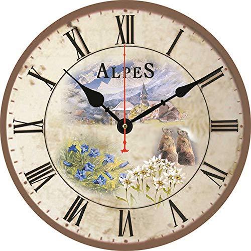 Bdhbeq Reloj de Pared Decorativo Flores de Lavanda del país francés en estaño jardín de su casa Flores de Belleza romántico Shabby Chic Reloj de Pared Redondo de Madera 14 Pulgadas (34 cm)
