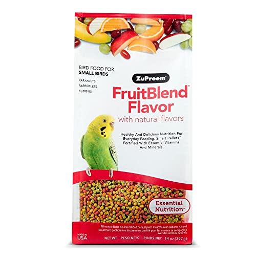 ZuPreem FruitBlend Flavor Pellets Bird Food for Small Birds, 2 lb - Powerful Pellets Made in USA, Naturally Flavored for Parakeets, Budgies, Parrotlets