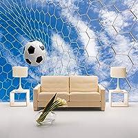 カスタム壁画壁紙モダンな3D立体スポーツサッカー青空白い雲リビングルーム男の子寝室の装飾壁紙, 350cm×245cm