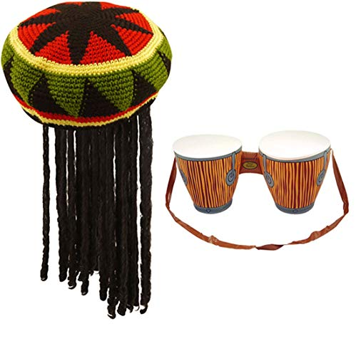 Rimi Hanger Jamaican Rasta Hat with Dreadlocks and Inflatable Bongo Drum Caribbean Party Set (Jamaican Hat + Inflatable Bongo Drum Set) One Size