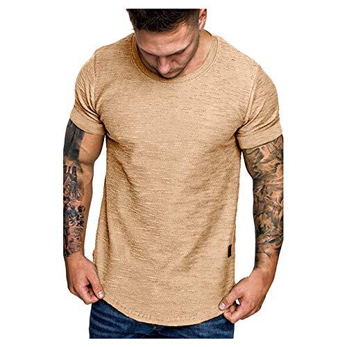 Camiseta de manga corta para hombre, de verano, monocolor, deportiva, ajustada, básica caqui XXL