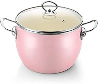 MIYVQD Cast Iron Casserole Dish Non-Stick Enamel Coating Soup Pot with for Family-Sized Casseroles, Soups, Stews, Bakes,Pink