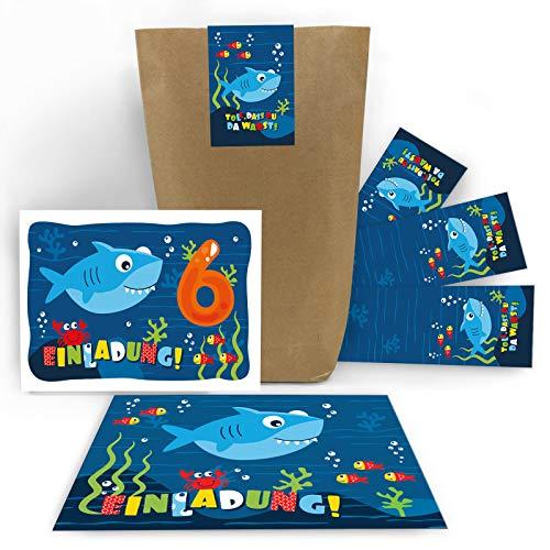 12 Einladungskarten zum 6. Kindergeburtstag sechste Geburtstag Jungen Jungs Mädchen Hai Einladungen zum Geburtstag incl. 12 Umschläge, 12 Tüten, 12 Aufkleber