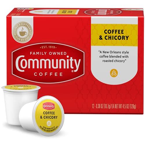 Community Coffee Coffee & Chicory Medium Dark Roast Single Serve K-Cup Compatible Coffee Pods, Box of 12 Pods