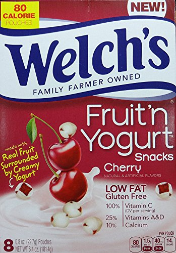 Welch's Cherry Fruit n Yogurt Snacks, 8 Pouches, 6.4 Oz (181.4g) 2-Packs