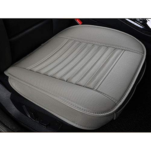 LQW HOME Auto Chair Cushion Leather Car Seat Cover Cushion Bamboo Charcoal Single Driver compatible with Granta Chery KIA Mazda Toyota Polo NISSAN Gelly Mitsubishi BYD Skid resistance (Color : Gray)