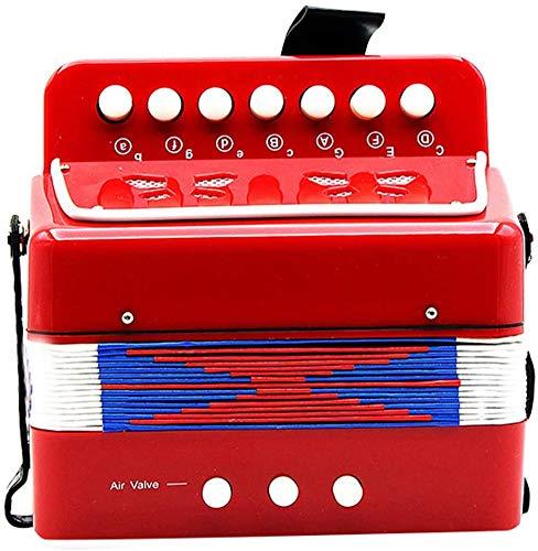 LFJY acordeón Niños, Niños botón acordeón niños acordeón de Juguete niños 7-Key Instrumento Musical 2 Bass Mini pequeño acordeón Educación Rhythm Band Juguete Musical,Red