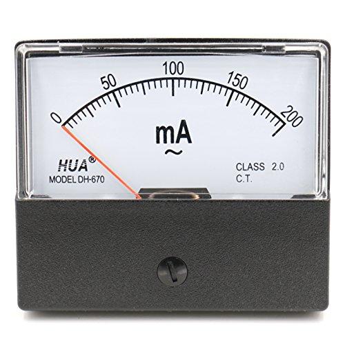Heschen Rechteck-Panel montiert Stromzähler Amperemeter Tester DH-670 AC 0-200mA Klasse 2,0