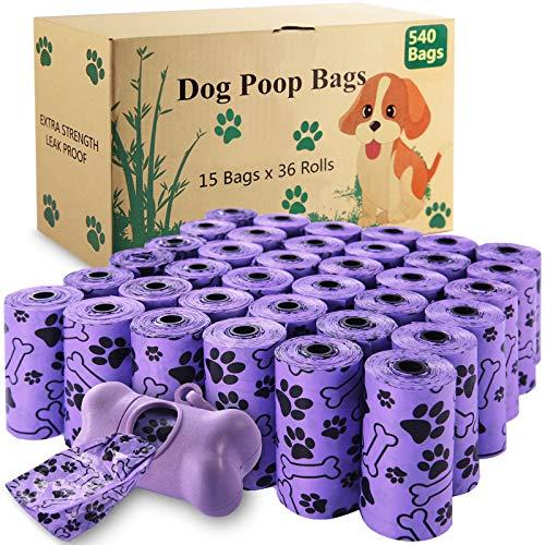 McNory Sacchetti per Cani, 540 pezzi/36 rotoli Dog Poop Sacchetti Dog Sacchetti di rifiuti con Dispensers, Extra Spesso a Prova di perdite Dog Poo Bags