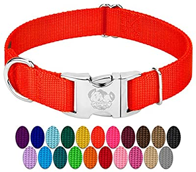 Country Brook Design - Vibrant 25 Color Selection - Premium Nylon Dog Collar with Metal Buckle (Large, 1 Inch, Hot Orange)