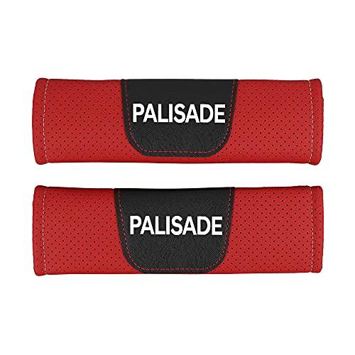 AKMEYI 2 Piezas Almohadillas para Cinturón de Seguridad de Cuero para Hyun-Dai Palisade, Cuero PU Transpirable Almohadillas Protectores de Coche Hombro, con Emblema
