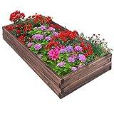 Giantex Raised Garden Bed Wood Outdoor Patio Vegetable Flower Rectangular Planter