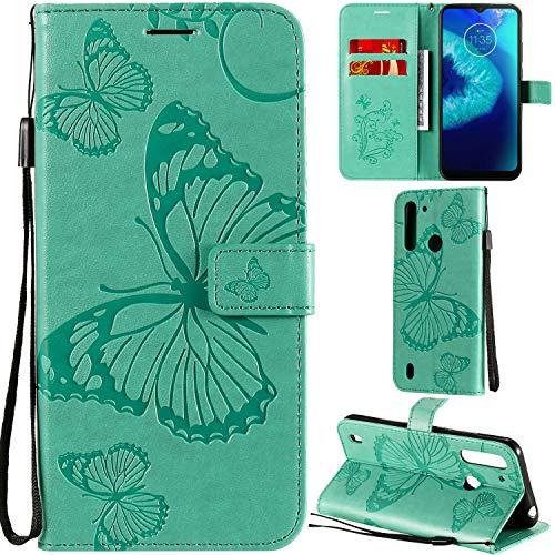 DodoBuy Motorola Moto G8 Power Lite Hülle 3D Schmetterling Muster Prämie PU Leder Schutzhülle Tasche Hülle Flip Cover Brieftasche Ständer mit Kartenfächer Kartenfach für Moto G8 Power Lite - Grün
