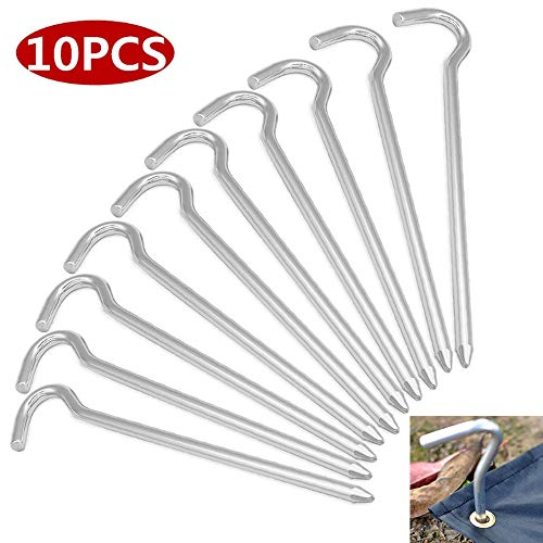 Nuluxi Silver Lightweight Steel Tent Pegs Camping Galvanised Steel Tent Pegs Silver Camping Steel Tent Hooks Ideal for Tents Gazebo and Nets for Outdoor Camping Trip Gardening Hiking (Pack of ten)