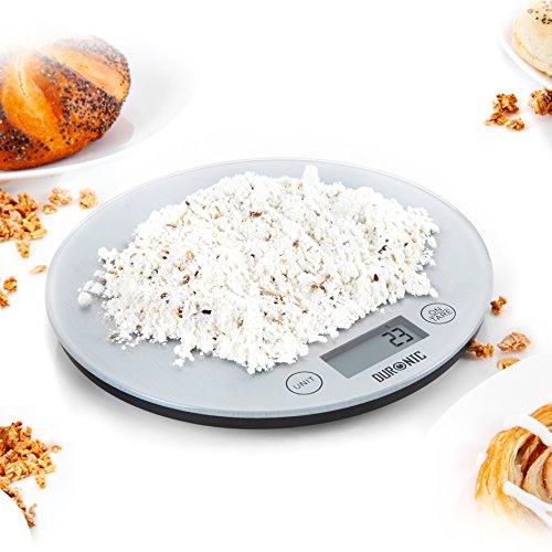 Duronic KS1055 - Bilancia elettronica da cucina, design super sottile, con display digitale piattaforma argentata portata 5kg