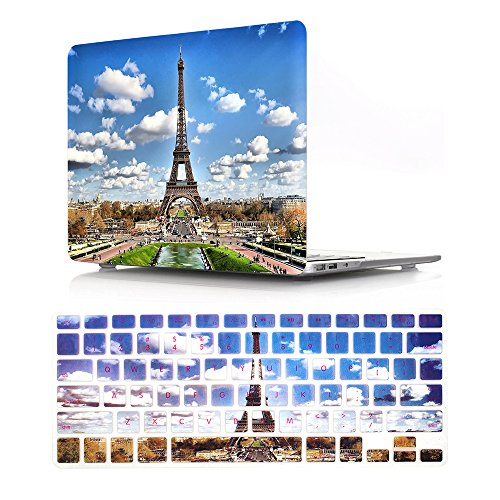 HRH 2 in 1 Paris Eiffel Tower Laptop Body Shell Protective Hard Case Cover and Matching Silicone Keyboard Cover for MacBook Air 13.3' Inch (A1466/A1369,Older Version Release 2010-2017)