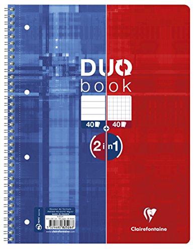 Clairefontaine 82526C Collegeblock (9 x 14 cm, Duo, 40 Blatt kariert und 40 Blatt liniert) 1 Stück rot/blau