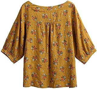 Funien Women Cotton Linen Blouse Vintage Floral Print Three Quarter Sleeve Casual Loose Shirt Bohemian T-Shirt Tees Top