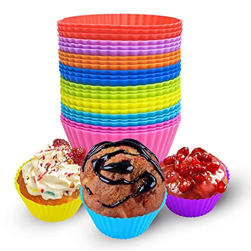 Pack of 24 Silicone Baking Cups - Reusable Muffin Liners - Non-stick Cupcake Wrappers - Silicone Cupcake Baking Cups Set - 8 Colors Rainbow Cupcake Liners - Nonstick Small Round Silicone Molds